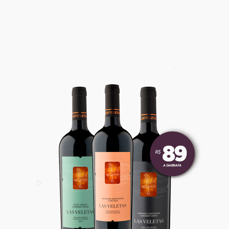 Trio de Vinhos Chilenos Las Veletas