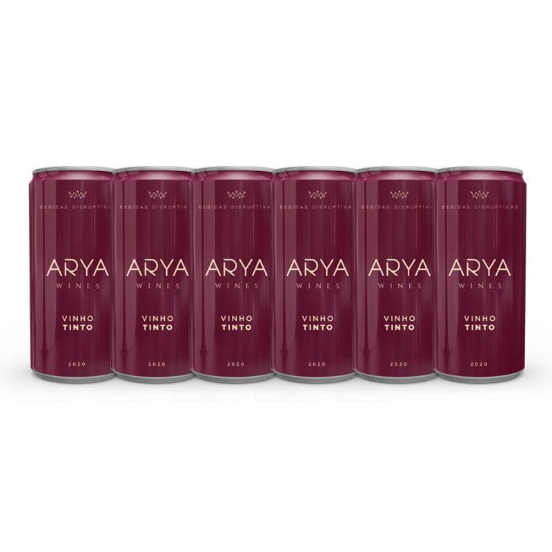 Kit 6 Vinhos Arya Wines Tinto Lata